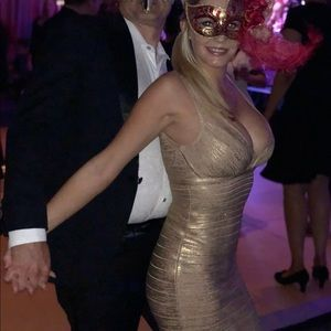 Herve Leger Gold Foiled Bandage Dress EUC XS